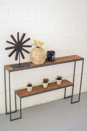 Two Tiered Recycled Honey Wood & Iron Console Table with Herringbone Pattern Top