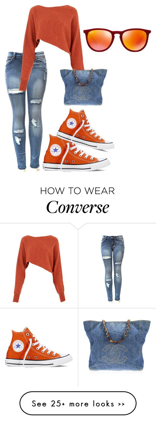 """""""Untitled #1411"""" by styledbycharlieb on Polyvore featuring Crea Concept, Converse, Chanel and Ray-Ban"""