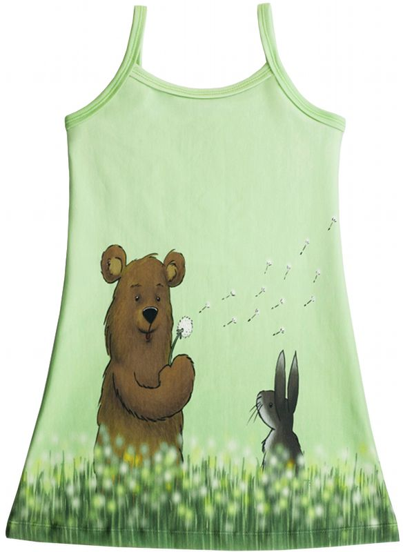 Materialen: * Tricot - Finch Fabrics, Dandelion Bears ( jurkje )  - 55 cm x 160 cm (1 paneel) ( maa...
