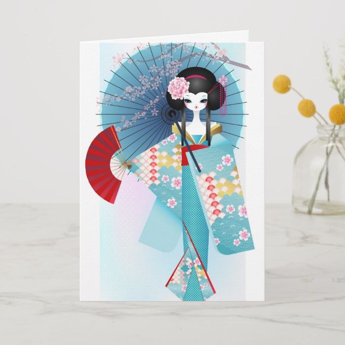 origami doll greeting card  custom greeting cards