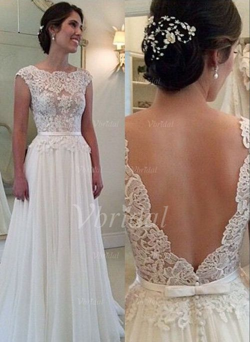 Bröllopsklänningar - $159.03 - A-linjeformat Rund-urringning Sweep släp Chiffong Spetsar Bröllopsklänning med Applikationer Spetsar (0025093716)