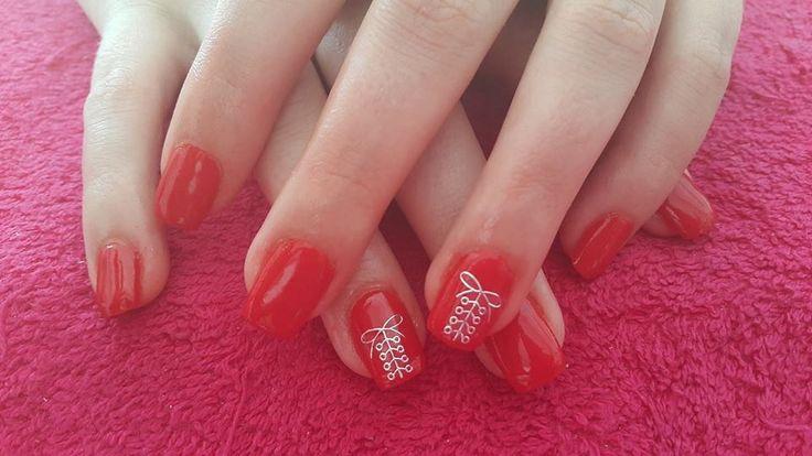 Red nail art.