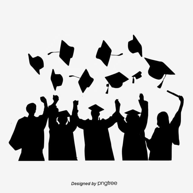 Silhouettes Of Graduation Caps Scattered By Students Silhouette Bachelor Cap Student Png Transparent Clipart Image And Psd File For Free Download Graduation Silhouette Graduation Wallpaper Graduation Cap