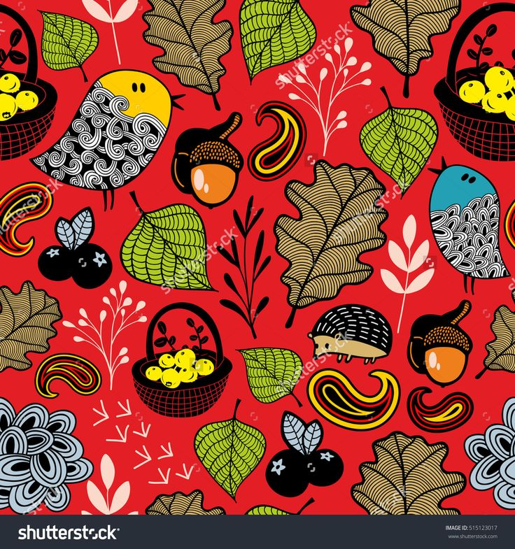 Summer seamless pattern. Vector forest illustration with doodle birds, berries and leaves.