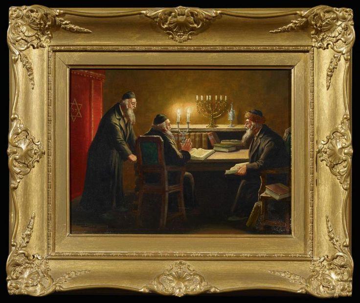 """Lettau, F. 19. / 20. Jh. """"Rabbiner im Disput"""". Öl auf Holz. 29,5 x 40cm. Signiert unten links: F. Lettau Danzig. Rahmen.  Provenienz: Sammlung Herrmann Hugo Zwillenberg (1885 Lyck - 1966 Bern)."""