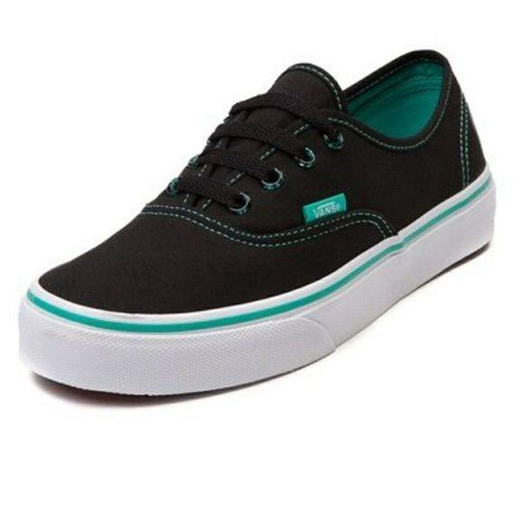 Vans Black and Turquoise Low Top | Vans, Vans black, Womens vans