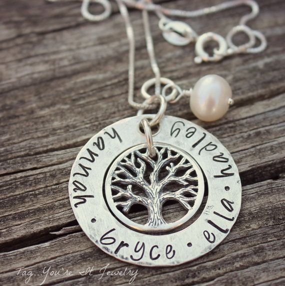 Family Tree Name Necklace with kids names by TagYoureItJewelry, $62.00