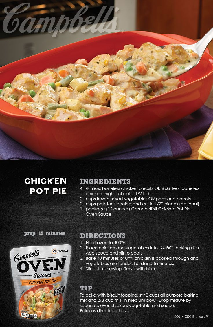 Chicken Pot Pie, made with Campbell's Dinner Sauces via campbellsauces.com. #CampbellsSauces #sponsored