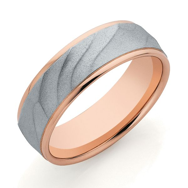 9ct Rose & White Gold 7mm Band