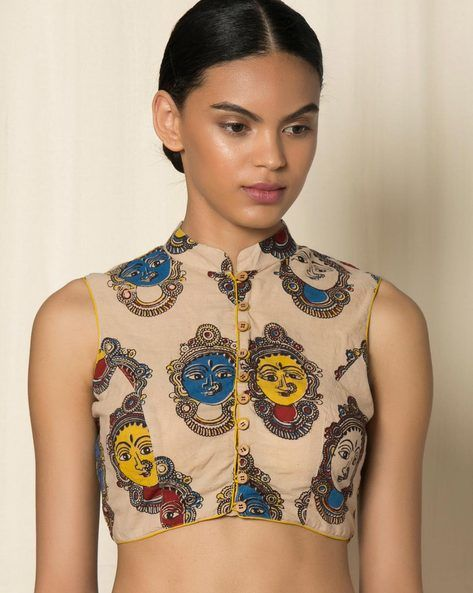 Buy Multicoloured Indie Picks Kalamkari Print Cotton Blouse