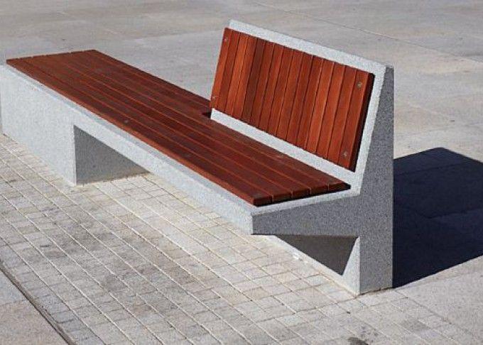 Mobiliario urbano de hormigón y madera                                                                                                                                                                                 Más