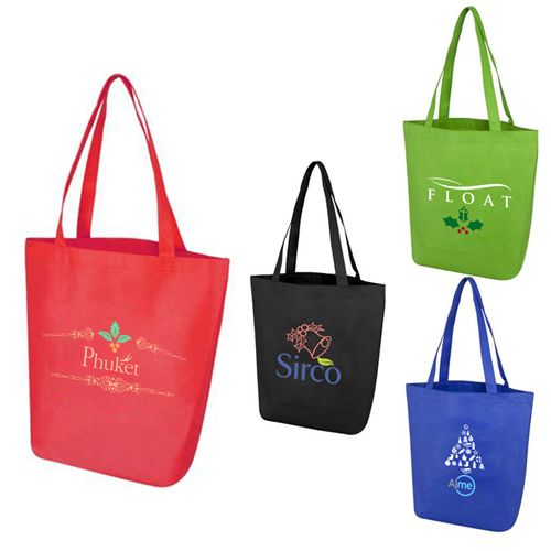 Are you planning holiday promotions or a tradeshow appearance? You should order these personalized Mackenzie Day tote bags right away! #promotionalproducts #giveaways #totes #holidaygifts