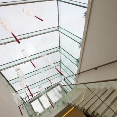 Glass Beam Supported Glass Rooflights were installed to the stairwell of a private residence in Mayfair.