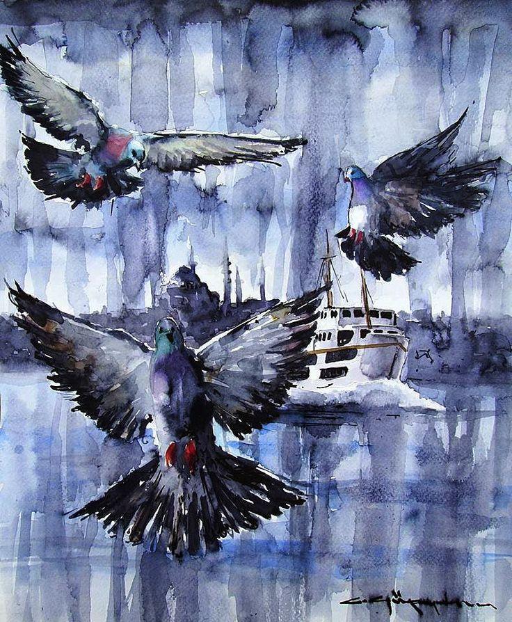 CELAL GÜNAYDIN Watercolor -  Karadan Denize .............. suluboya........40x32 cm.