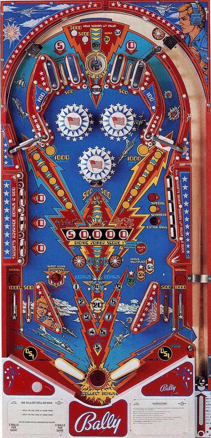 Six Million Dollar Man pinball machine play deck - made by Bally