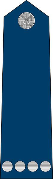 Staff Sergeant rank insignia [Rotny] (Shoulder board), contemporary Czech Air Force. Though just an OR-4, comparable to Corporal in many other forces, the Czech Armed Forces use a rank translated as Corporal in an OR-2 position.