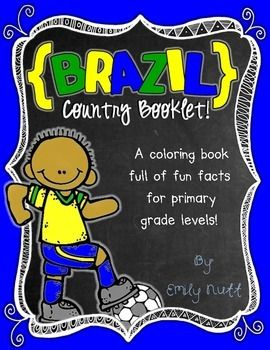 """This """"All About Brazil"""" booklet can be used for a very basic country study in lower elementary grades!Just print out the pages, have kids cut along the center dotted line, stack the small pages on top of each other and staple together! All clip-art is in an outline format so that it's ready to be colored like a mini-coloring book.This 11 page coloring booklet gives all the general/basic information about Brazil, including:-geography-Brazilian flag-capital city of Brasilia (Cathedral of ..."""