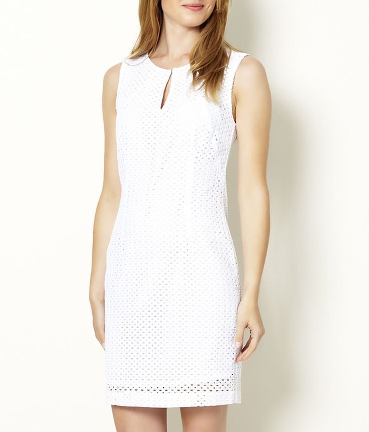 ♥ NEW Country Casuals CC White Broderie Anglaise Shift Pencil Dress 10 to 18 ♥