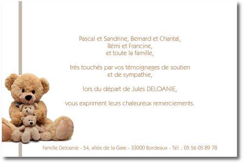 """Personnaliser et commander """"Peluche Enfant"""" - Carte de Remerciement décès"""