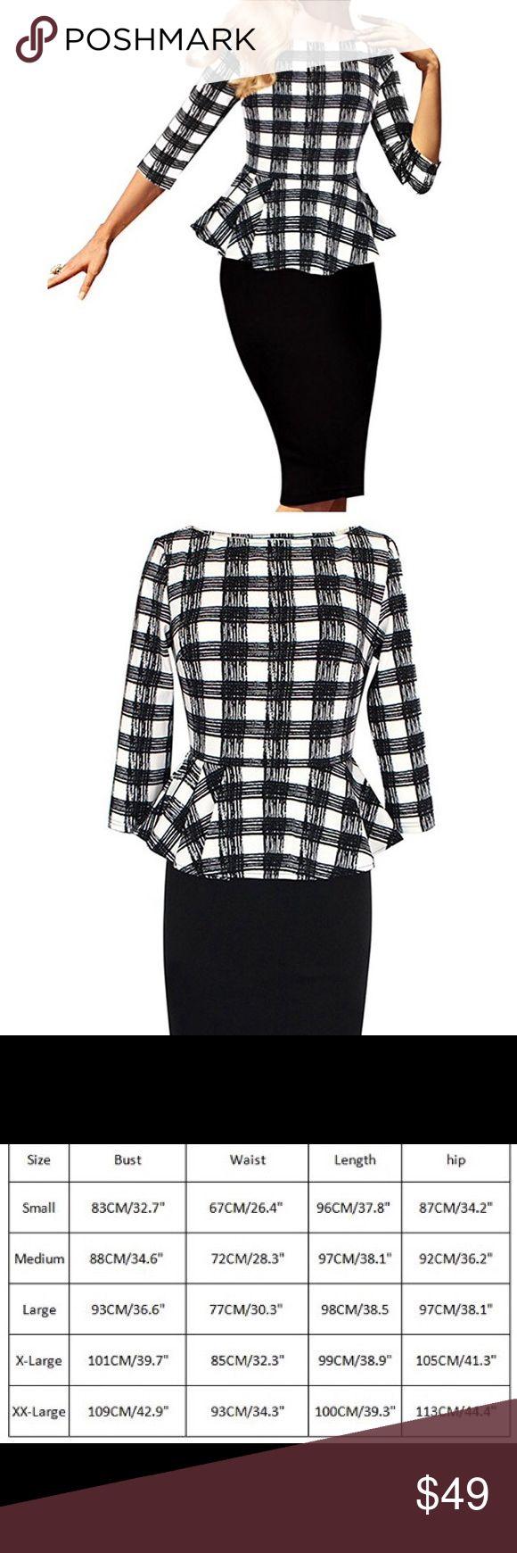 Peplum Dress Brand new beautiful plaid black and white peplum pencil dress none Dresses Midi