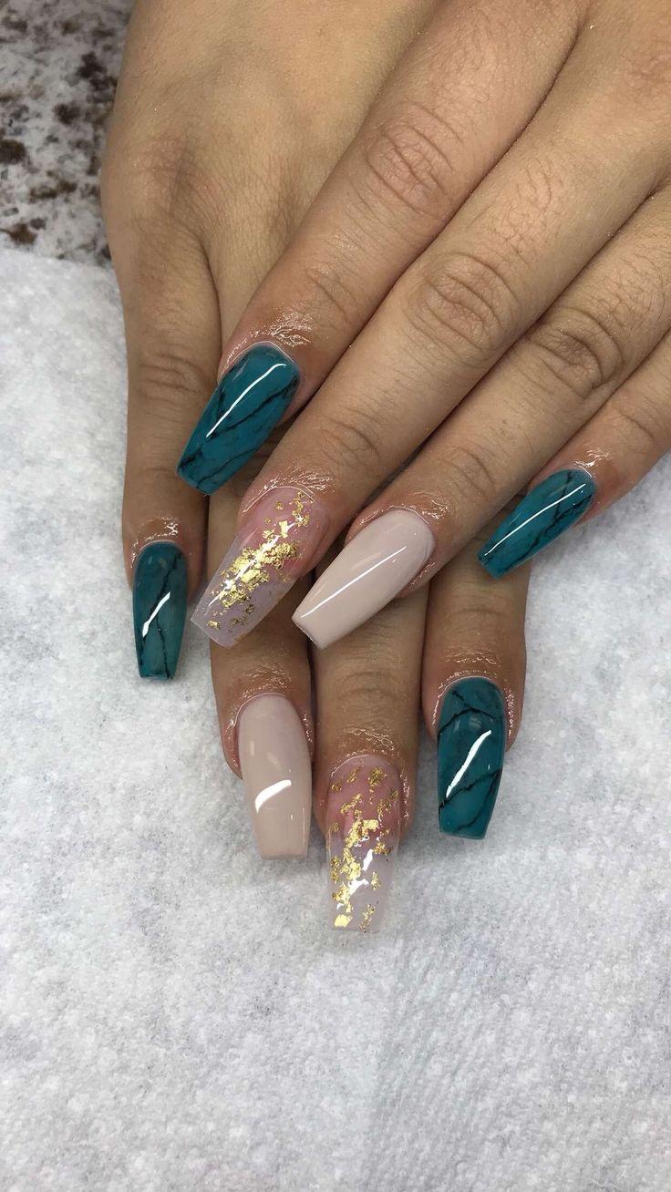 I LOVE this nail art color combo! | acrylic nail art | ideas de unas | #nailart
