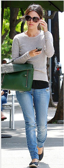 Rachel Bilson; denim, flats, black top under neutral sweater; casual