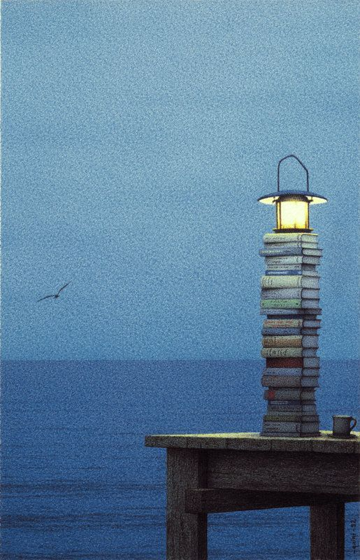 A stack of books are a beacon to those at sea in life. Artwork by Quint Buchholz.