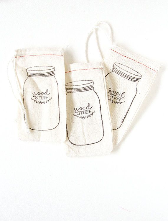 These cotton blend bags are perfect for personalizing for any special occasion. Stamped with a cute mason jar & the words GOOD STUFF right on the