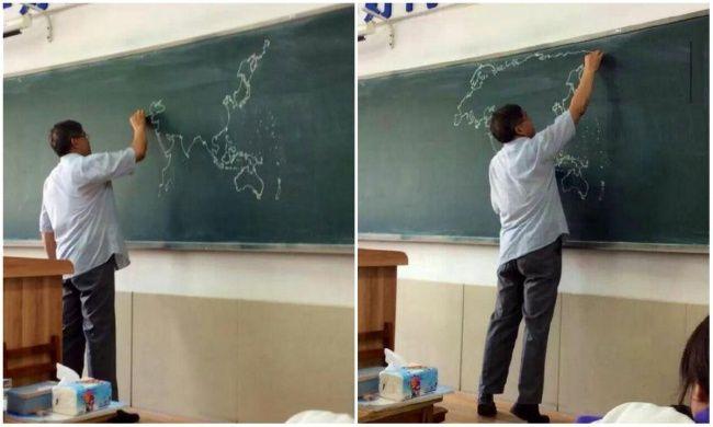 Учитель истории по памяти воспроизвёл карту мира на доске