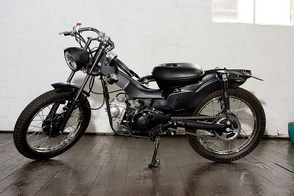 Post Modern Motorcycles modify Honda CT110s, otherwise known as postie bikes. The Blackmail model pictured. pmmc.com.au