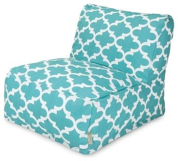 Teal Trellis Bean Bag Chair Lounger midcentury outdoor chairs $189