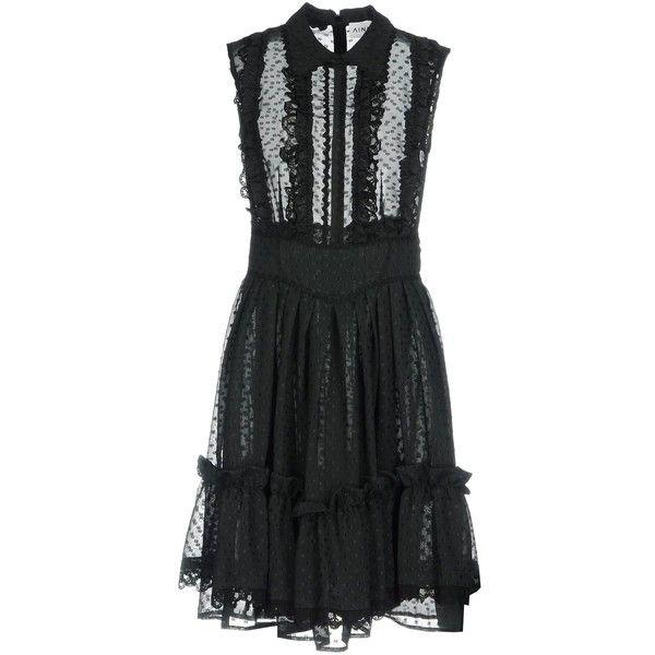 Ainea Short Dress ($185) ❤ liked on Polyvore featuring dresses, black, short frilly dresses, flutter-sleeve dresses, polka dot mini dress, flounce dress and lining dress