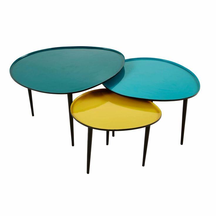 Tables Gigognes En Metal Laque Bleu Et Jaune Galet Dekor Wohnzimmertische Tisch