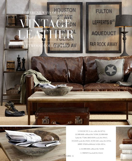 "A little too ""hard edged"" for my taste, BUT...I do like the vintage collected feel of it combined with the brown leather couch."