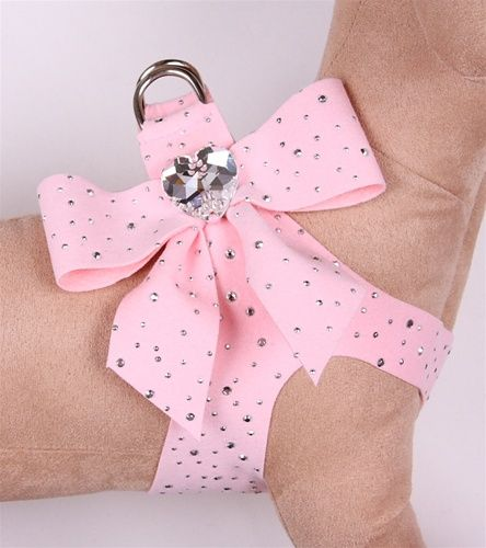 Tail Bow Heart Pure & Simple Step-In Harnesses - Puppy Pink/Silver Stardust #pets #pink