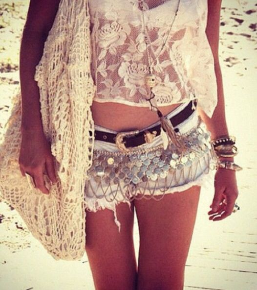 Boho chic crochet purse & top, cut off shorts & layered bracelets for a hippie fashion statement. For MORE Bohemian looks FOLLOW http://www.pinterest.com/happygolicky/the-best-boho-chic-fashion-bohemian-jewelry-gypsy-/
