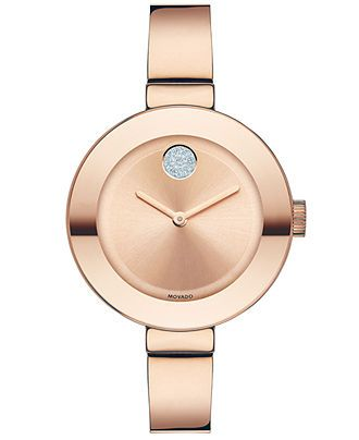Movado Watch, Women's Swiss Bold Rose Gold Ion-Plated Stainless Steel Bangle Bracelet 34mm 3600202 - Movado - Jewelry & Watches - Macy's $495.00