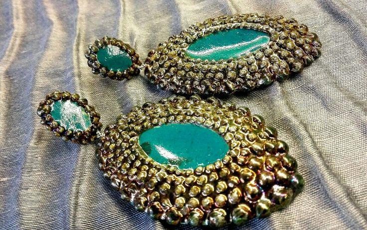 Raku ceramics Earings VulcanicaGioielliMilano www.vulcanica-milano.it