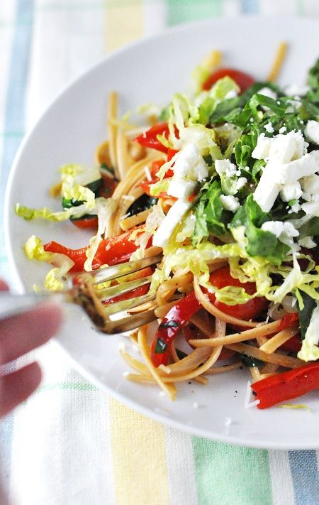 Linguini with Vegetables Topped with Romaine & Feta  From @Jennifer Leal