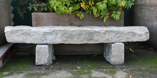 Granite Curbstone Bench Eclectic Outdoor Benches San Outdoor Stone Benches…