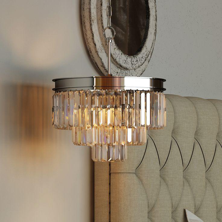 3 tier restoration odeon prism clear crystal chandelier lighting chrome black nickel chandelier