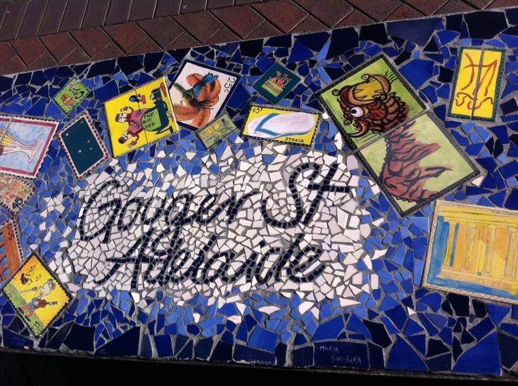 Bus Bench on Gouger Street — gorgeous, creative mosaic street art!