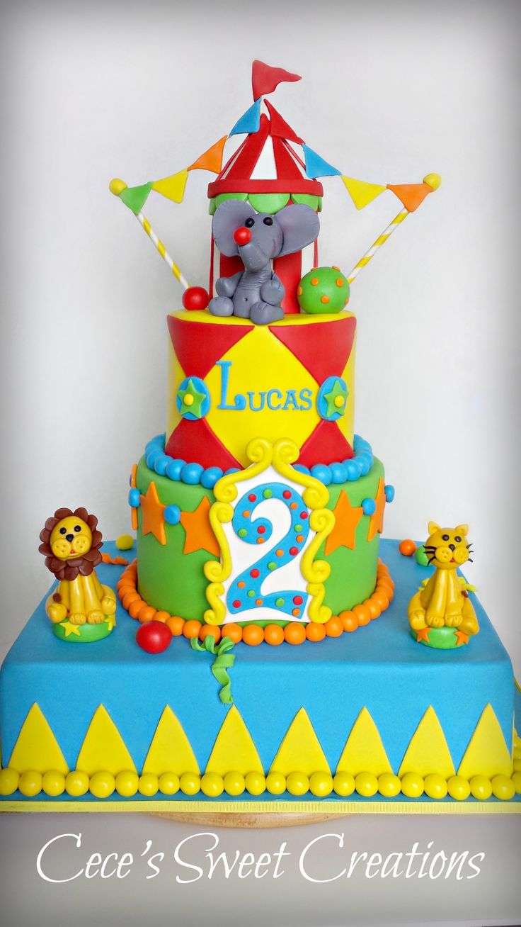Circus Themed Birthday Cake made by http://cecessweetcreations.com/index.html