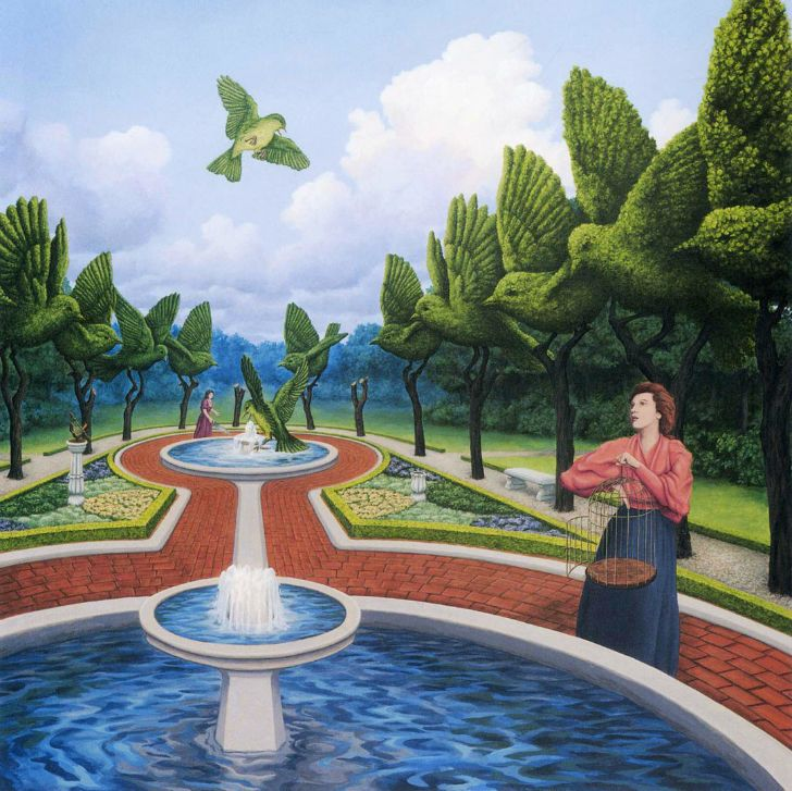 rob gonsalves, small giant green birds at the fountain