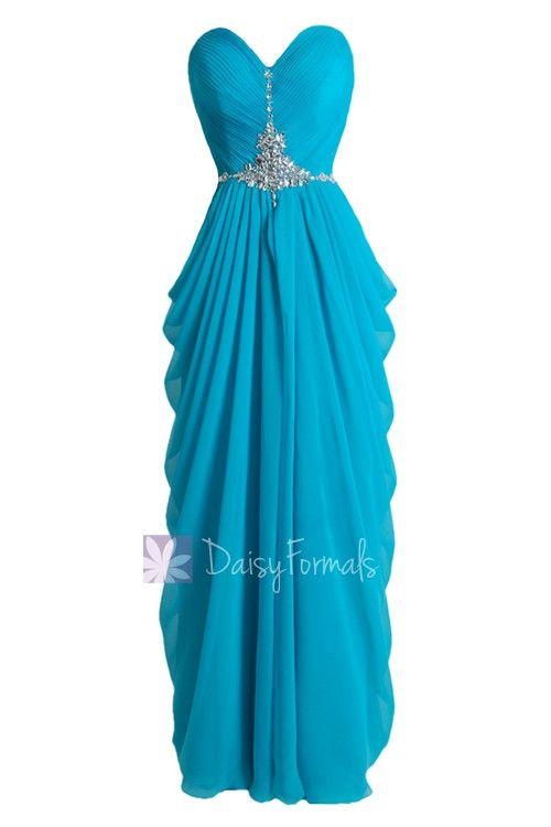 Beaded Blue Chiffon Dress Beach Wedding Dress Long Sweetheart Bridesmaid Dress(PR72168)