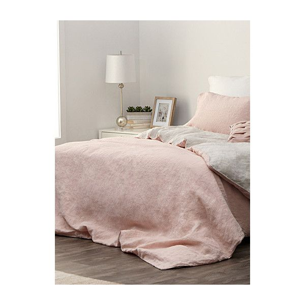 Simons Pure linen pastel duo duvet cover (13,300 PHP) ❤ liked on Polyvore featuring home, bed & bath, bedding, duvet covers, room decor, pastel bedding, european bed linens, queen bedding, european bedding and queen bed linens