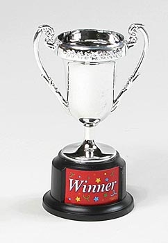 All your guests are winners with this Silver Winners Trophy. These are great favors for your racing theme party or give aways for a good job done. Each plastic Trophy is 6 tall and in a package of 12.