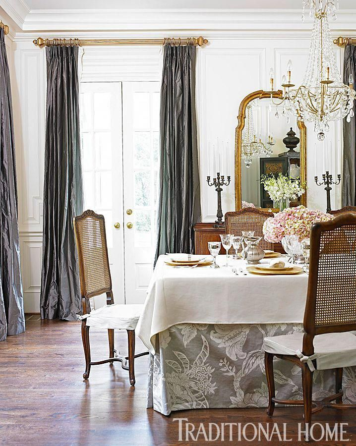 Love the gold rods with the gray drapes Romantic Rooms and