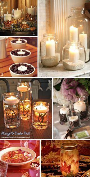Uma pequena selecção de arranjos de velas em frascos de vidro. Estão muito giras e tão fáceis de criar. É uma opção barata e prática.