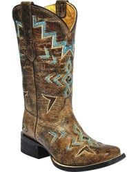Corral Girls Studded Embroidered Cowgirl Boots - Square Toe,